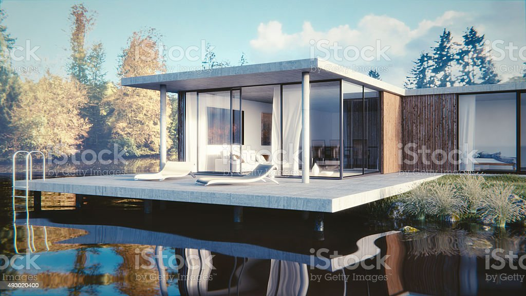 Haus am See - 3D render stock photo