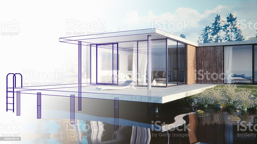 Haus am See - 3D render - Skizze stock photo