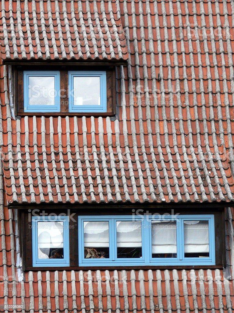 Hausdach mit Gaubenfenster stock photo