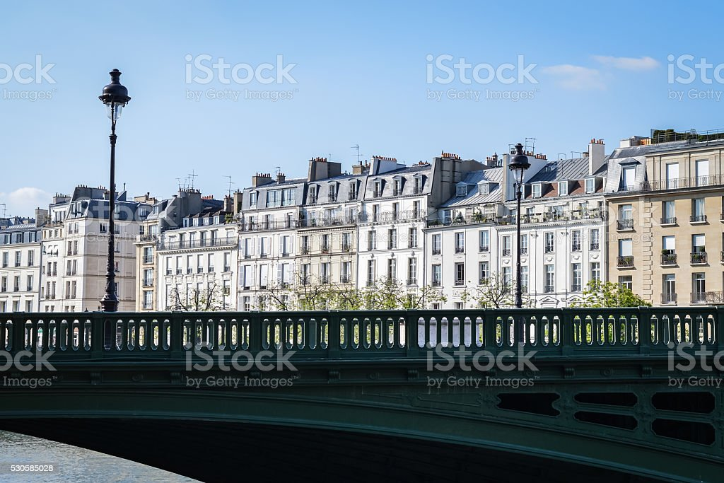 Haussmannian houses in Saint-Louis Island in Paris stock photo