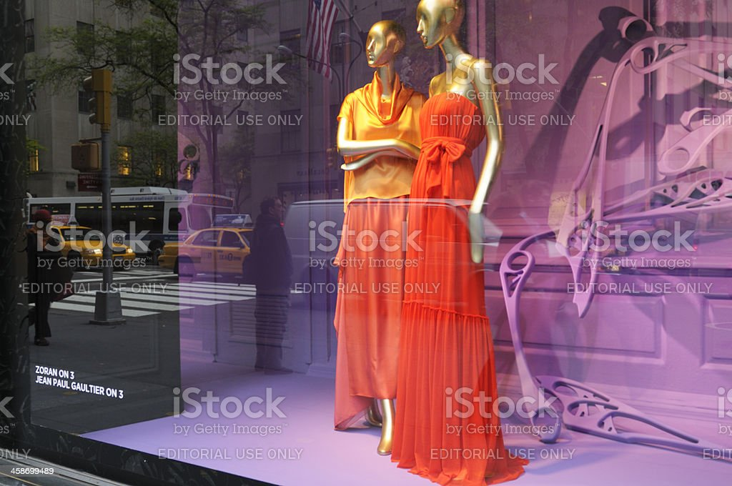 Haute Couture Window Display,NYC. stock photo