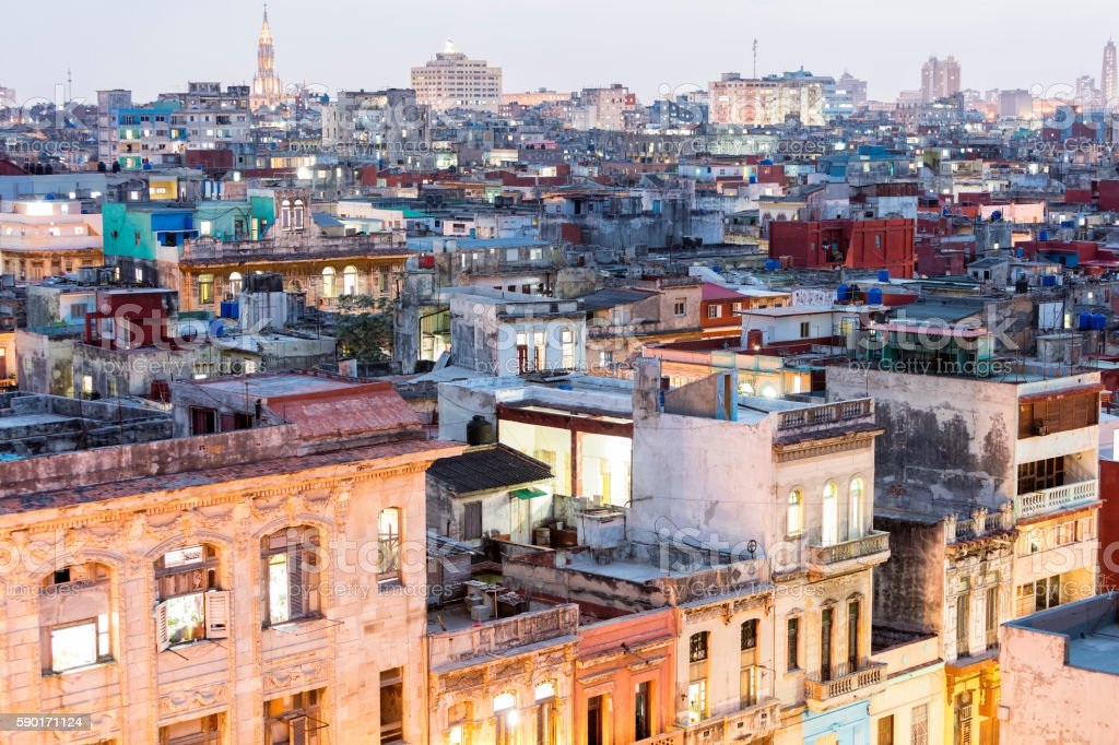 Havana, Aerial View at Dusk, Cuba stock photo