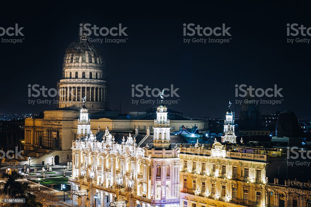 Havana at Night stock photo