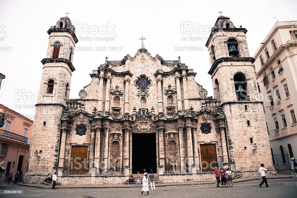 Havana cathedral, Cuba stock photo