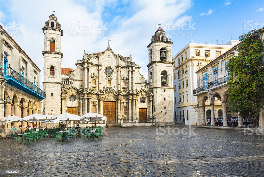 Havana Cathedral in Cuba with blue sky backdrop stock photo