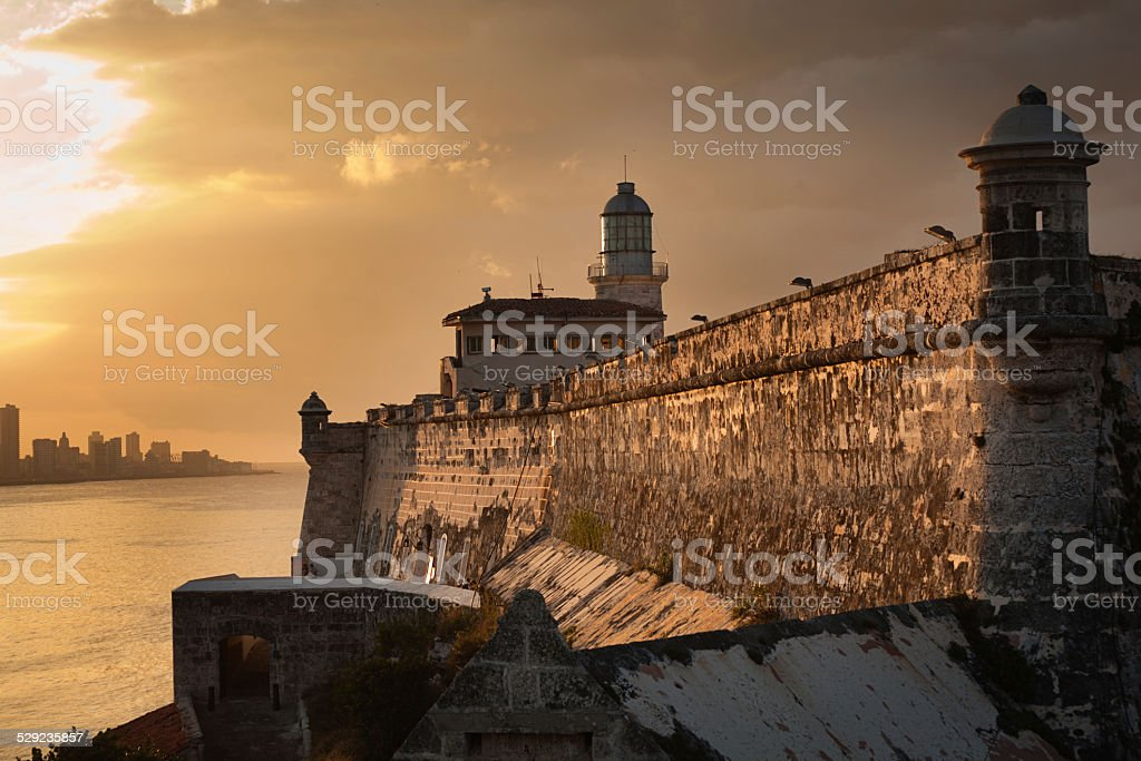 Havana City Skyline Sunset from Morro Castle Cuba stock photo