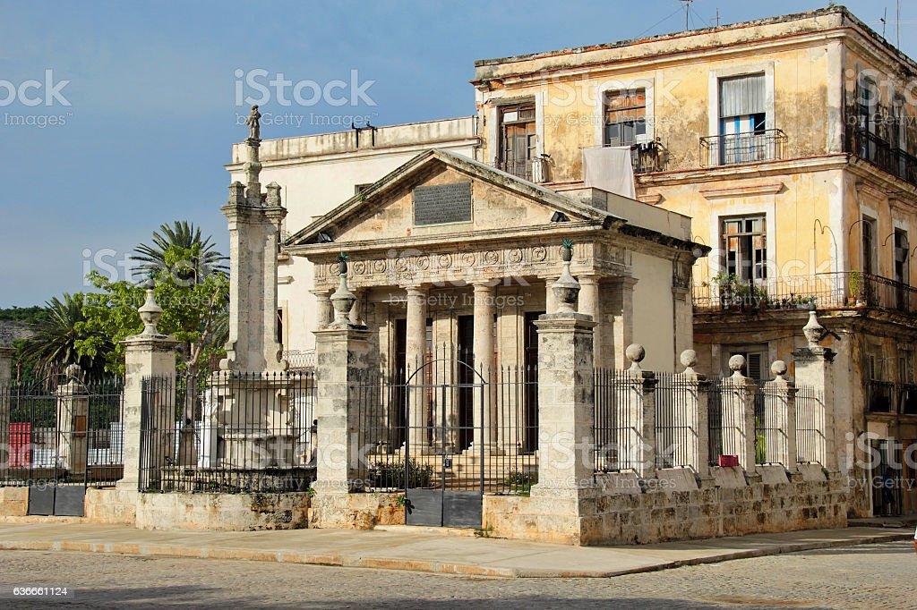 Havana, Cuba: El Templete, the city's iconic commemorative building stock photo