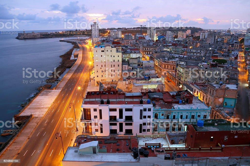 Havana, Cuba illuminated at early morning, elevated view stock photo