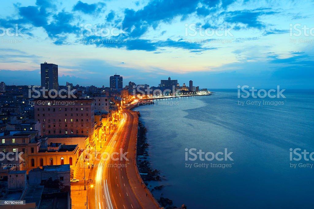 Havana, Cuba, Malecon at Dusk stock photo