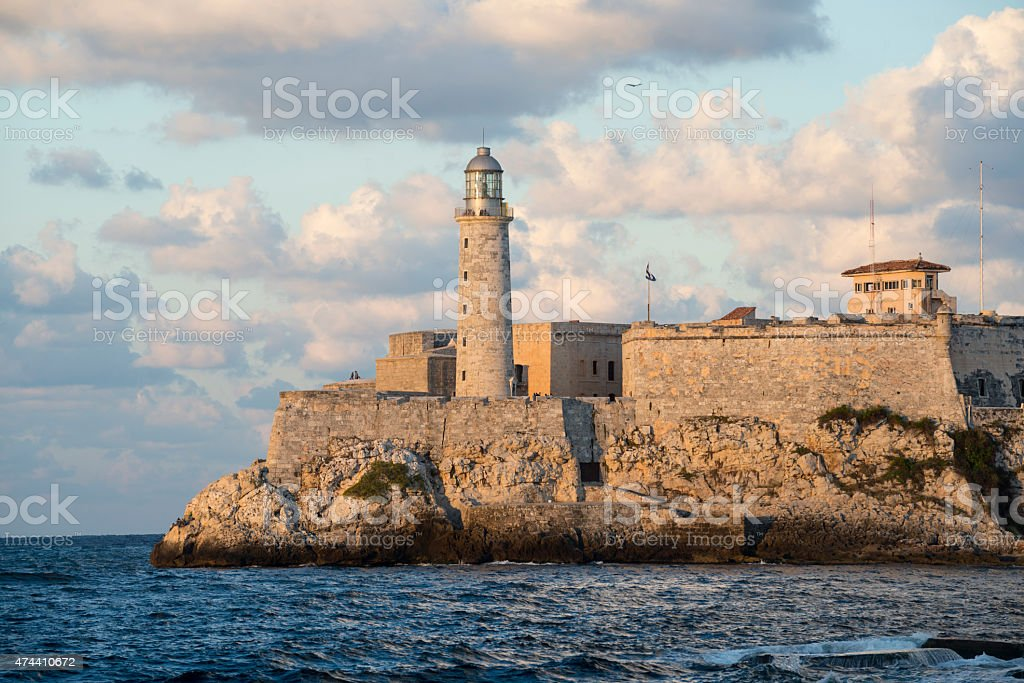 Havana lighthouse and Morro Castle - Cuba stock photo