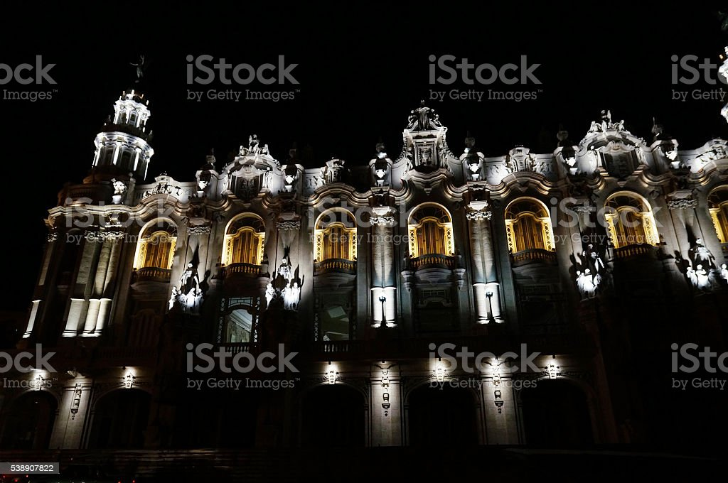 Havana, National Theater at night, Cuba stock photo