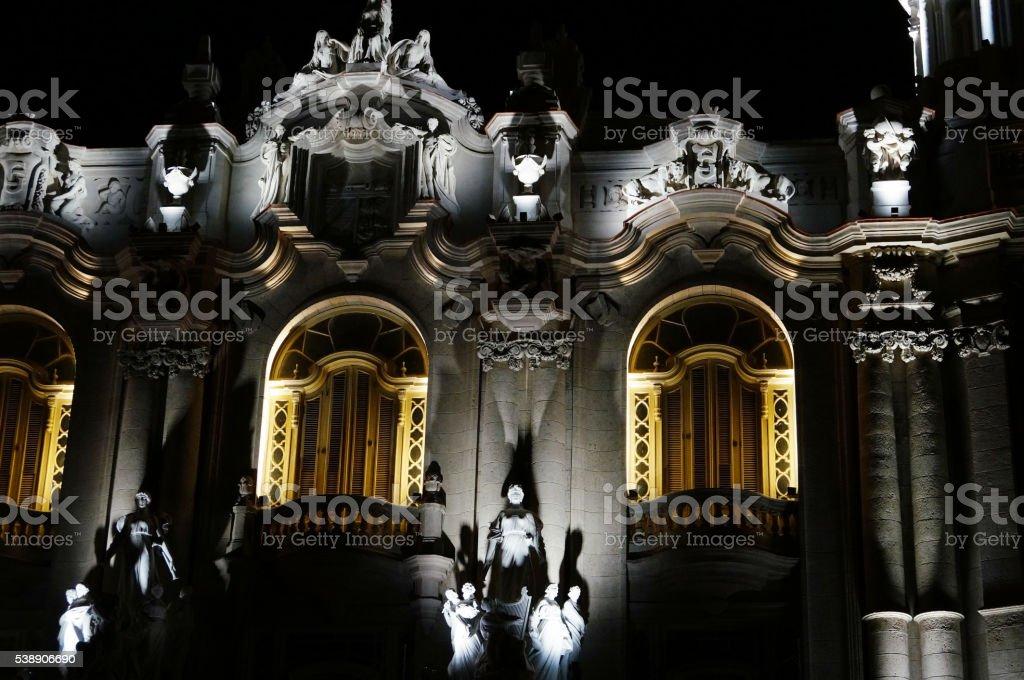Havana, National Theater at night stock photo