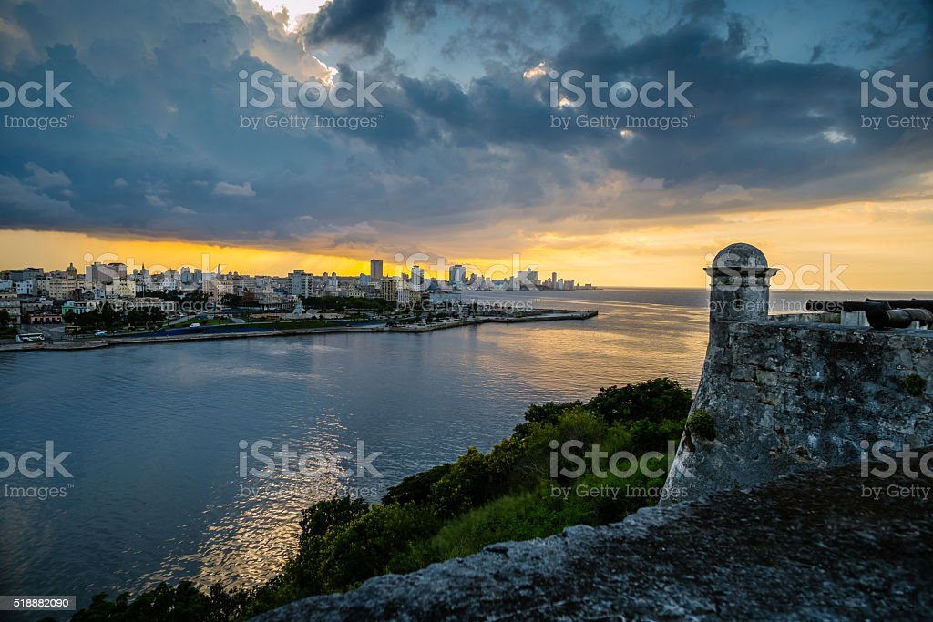 Havana Panorama in the evening stock photo