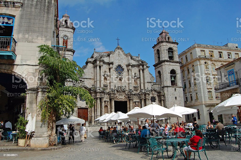 Havana restaurant and cathedral stock photo