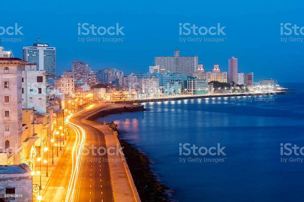 Havana Skyline with Malecon Illuminated at Early Morning, Cuba stock photo