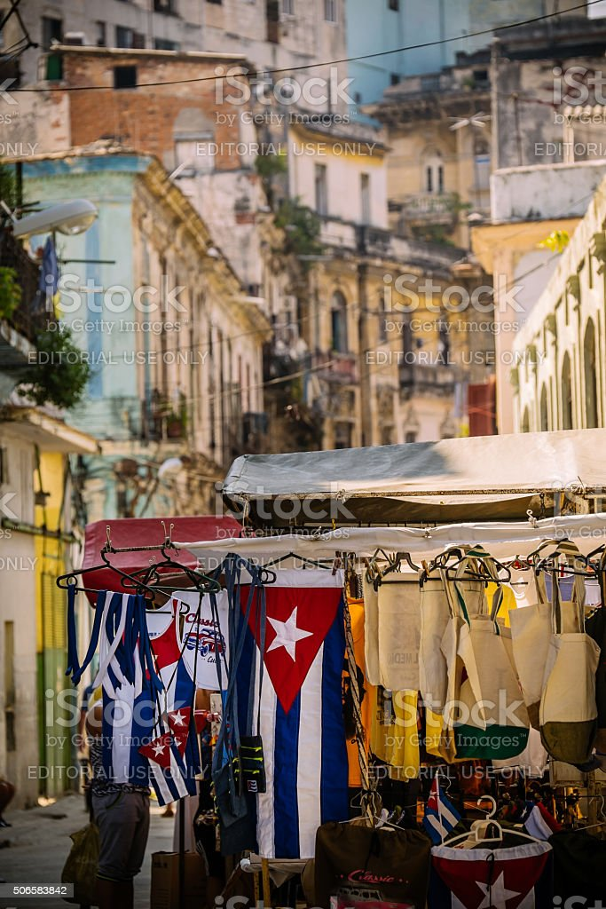 Havana street souvenirs stock photo