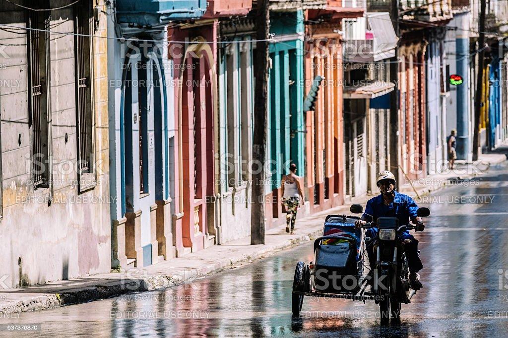 Havana streets during rain shower stock photo