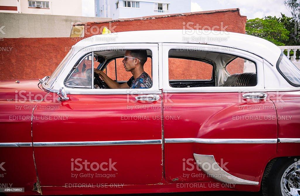 Havana Taxi on the run stock photo