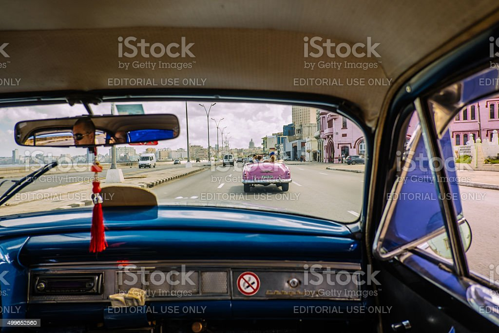 Havana Taxi on the run stock photo