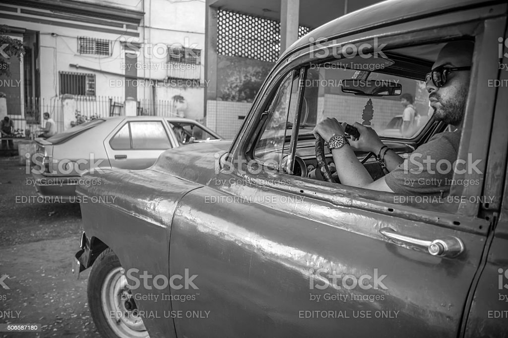 Havana traffic hustle stock photo