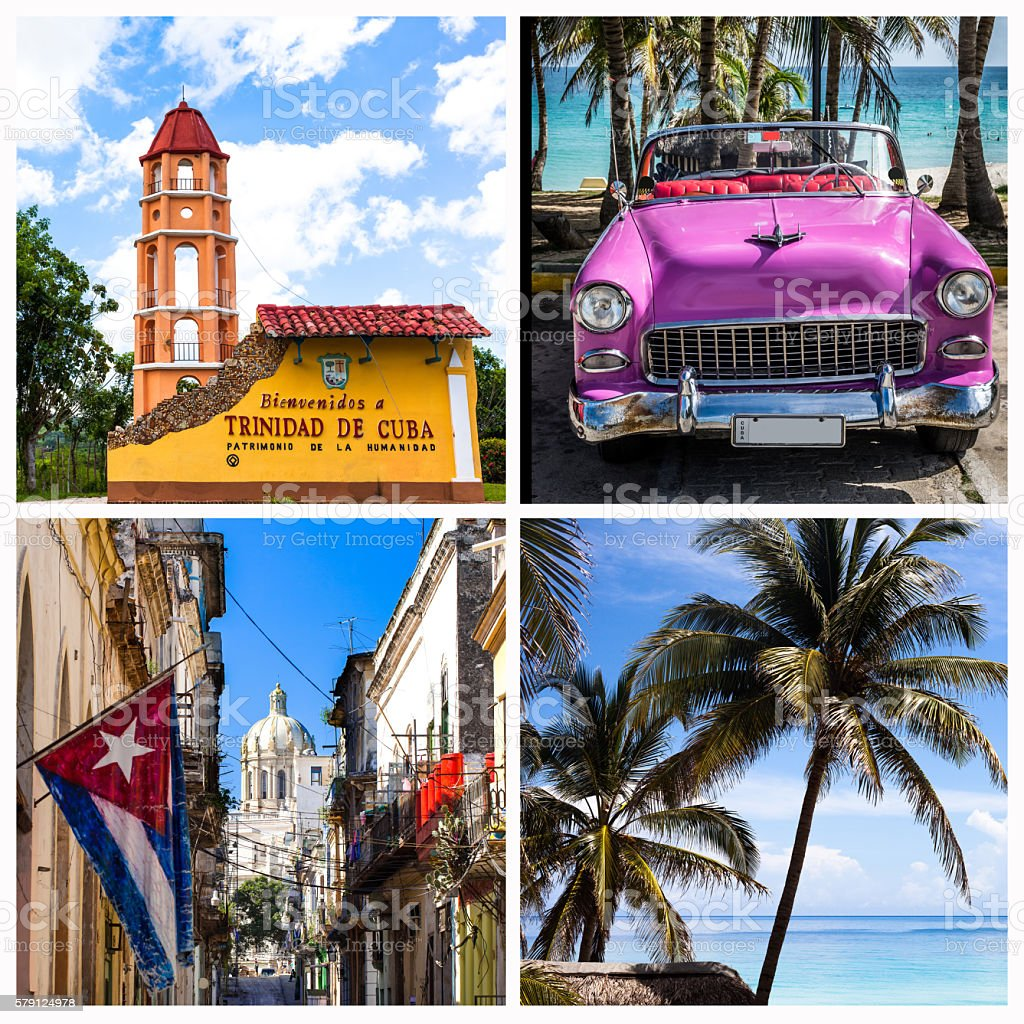 Havana Trinidad Cuba collage with classic cars beach stock photo