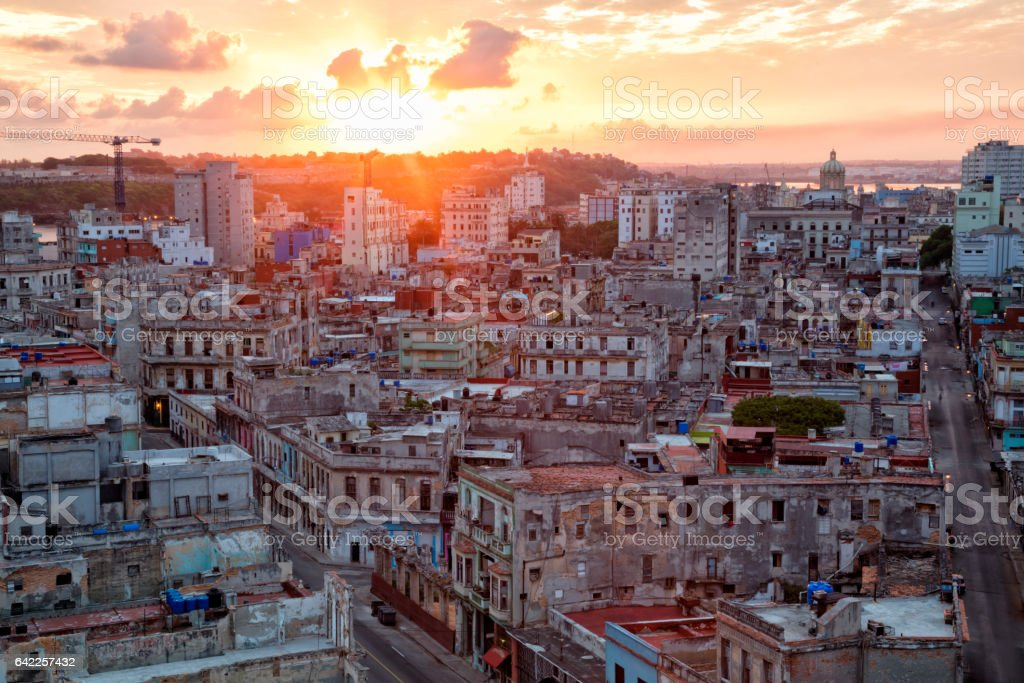 Havana Vieja, Aerial View at Sunset, Cuba stock photo