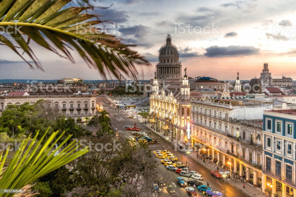 Havanna citscape with Capitol and Theatre at sunset hour stock photo