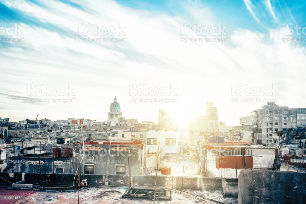 Havanna citscape with Capitol at sundown stock photo