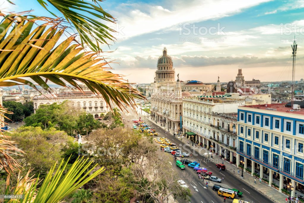 Havanna citscape with Capitol at sunset hour stock photo