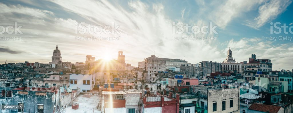 Havanna citscape with Capitol at sunset stock photo
