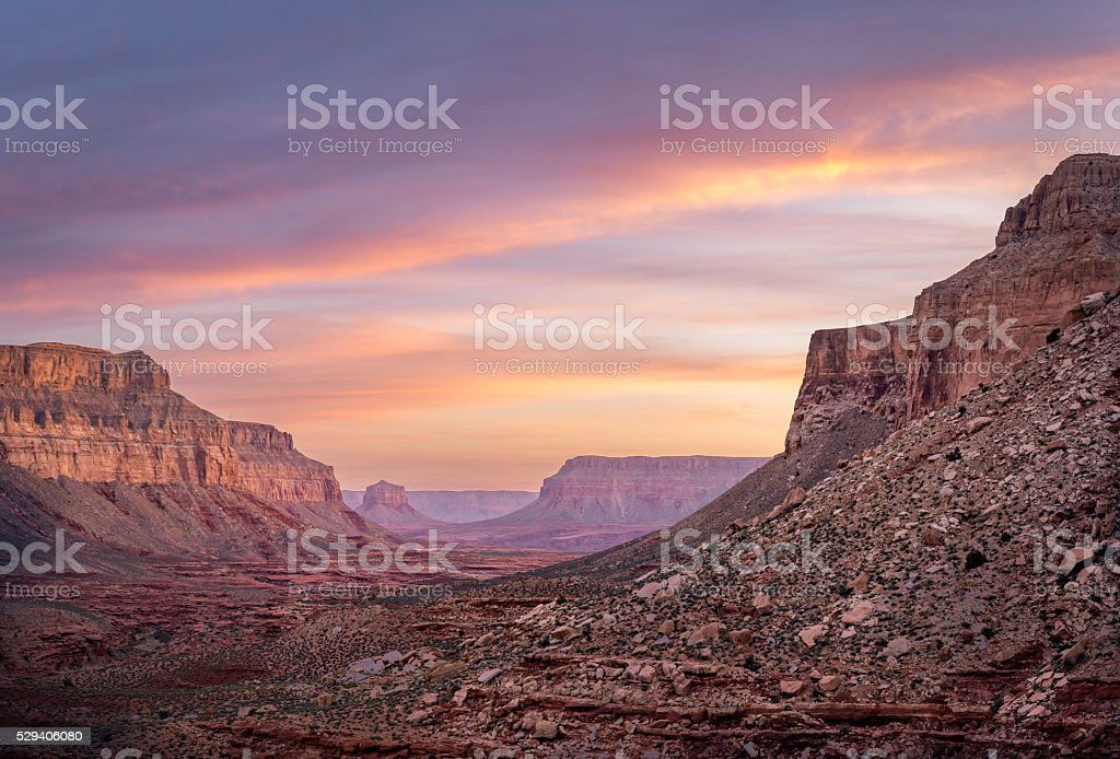 Havasupai Colorful Sunrise Hike stock photo