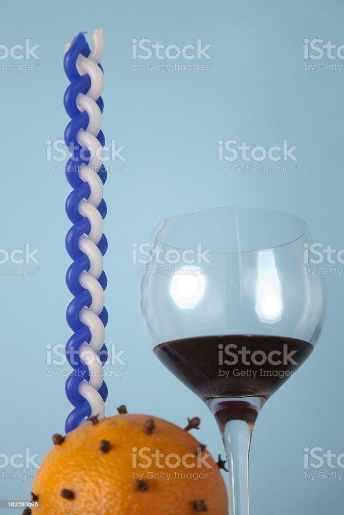 Havdalah Candle, Spice, Wine stock photo