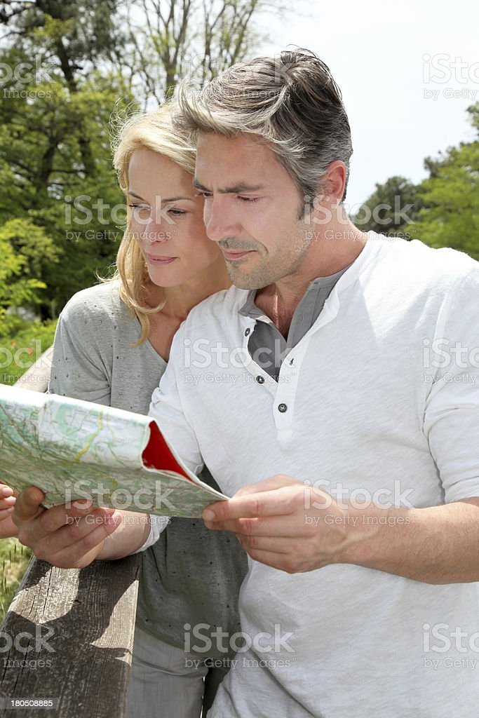 Have a look on map before going visiting royalty-free stock photo
