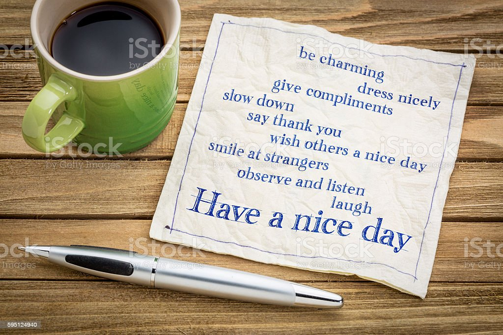 Have a nice day concept on napkin stock photo