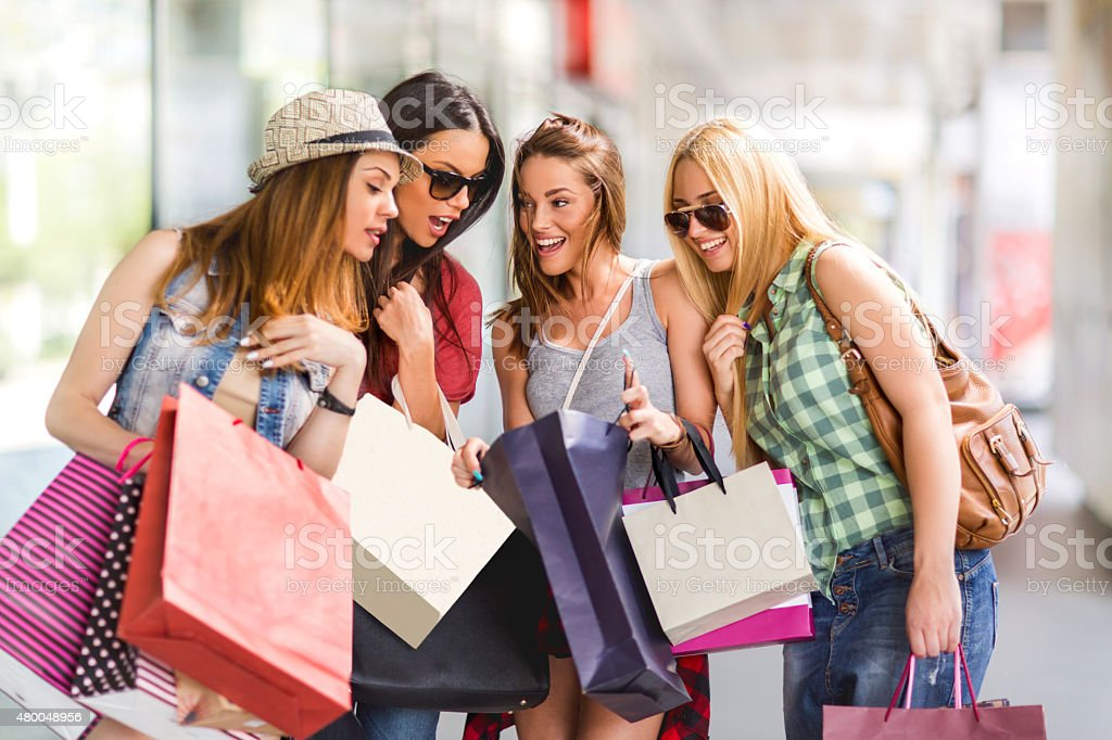 Have a peek in my shopping bag! stock photo