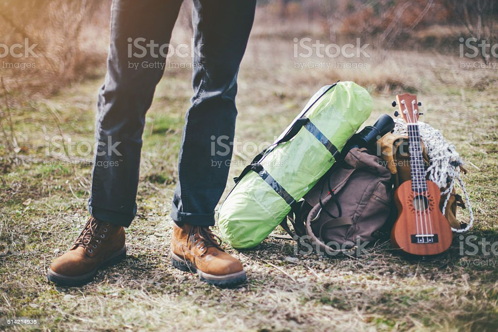 I have all I need for camping stock photo