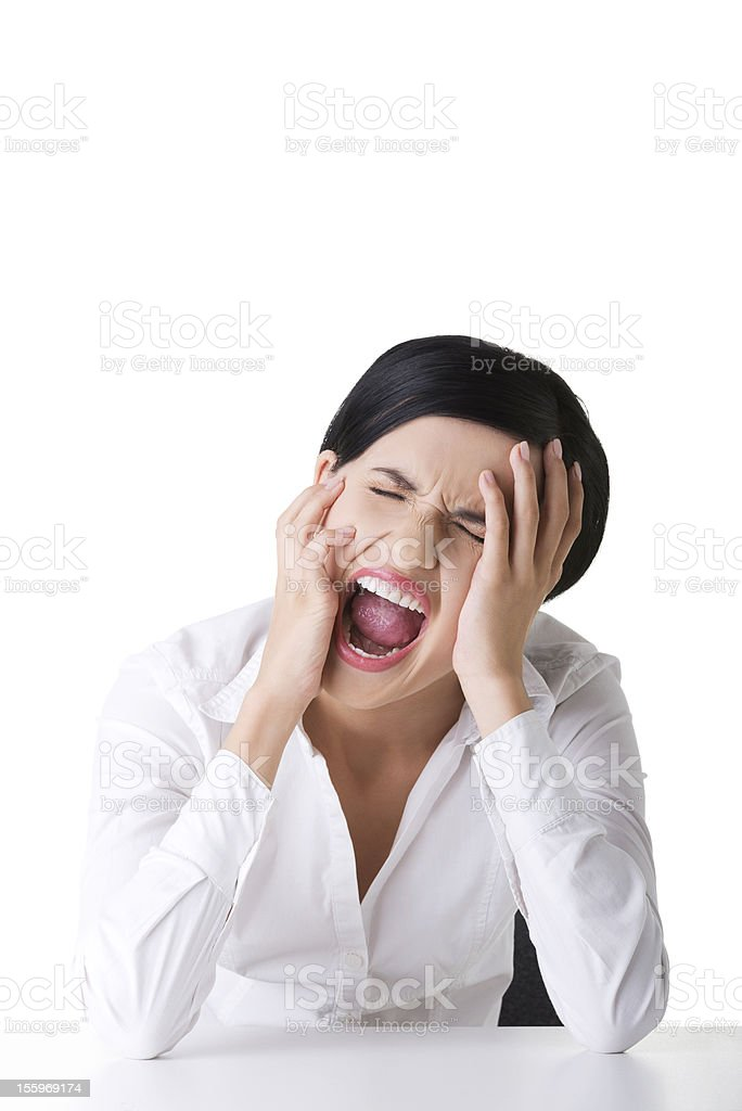 I have enought ! Screaming business woman. royalty-free stock photo