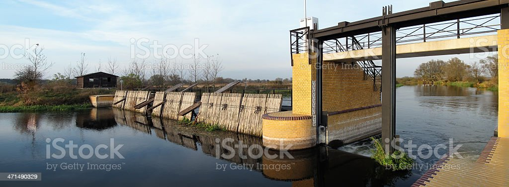 Havel River with Needle dam weir stock photo