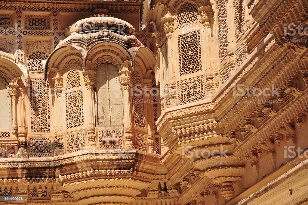 Havelis,Mehrangarh Fort,Jodhpur,Rajasthan,India. royalty-free stock photo