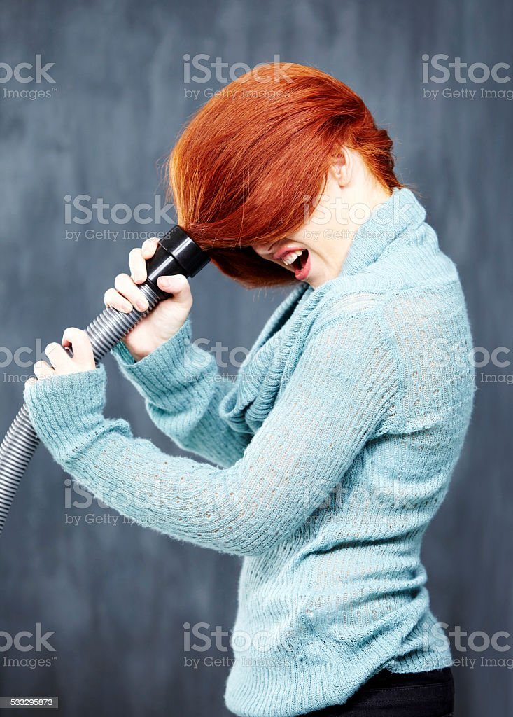 Having a bad hair day stock photo
