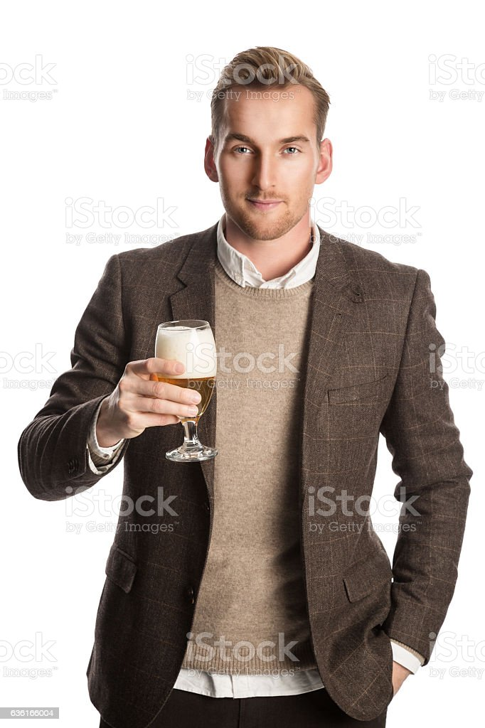 Having a beer after work stock photo