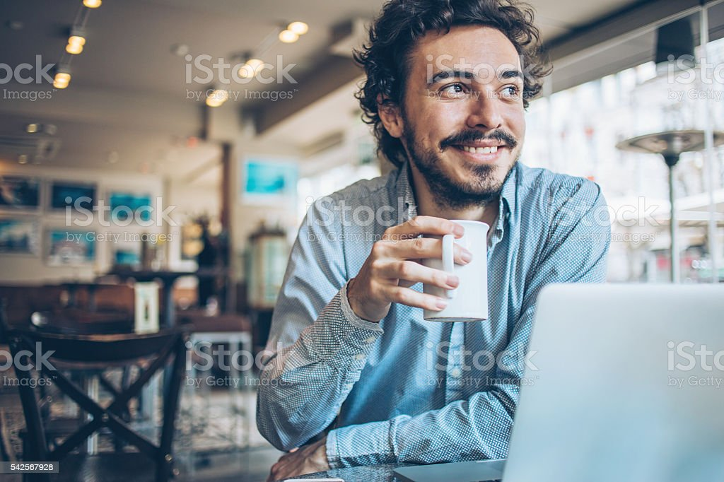 Having a break for a hot drink stock photo