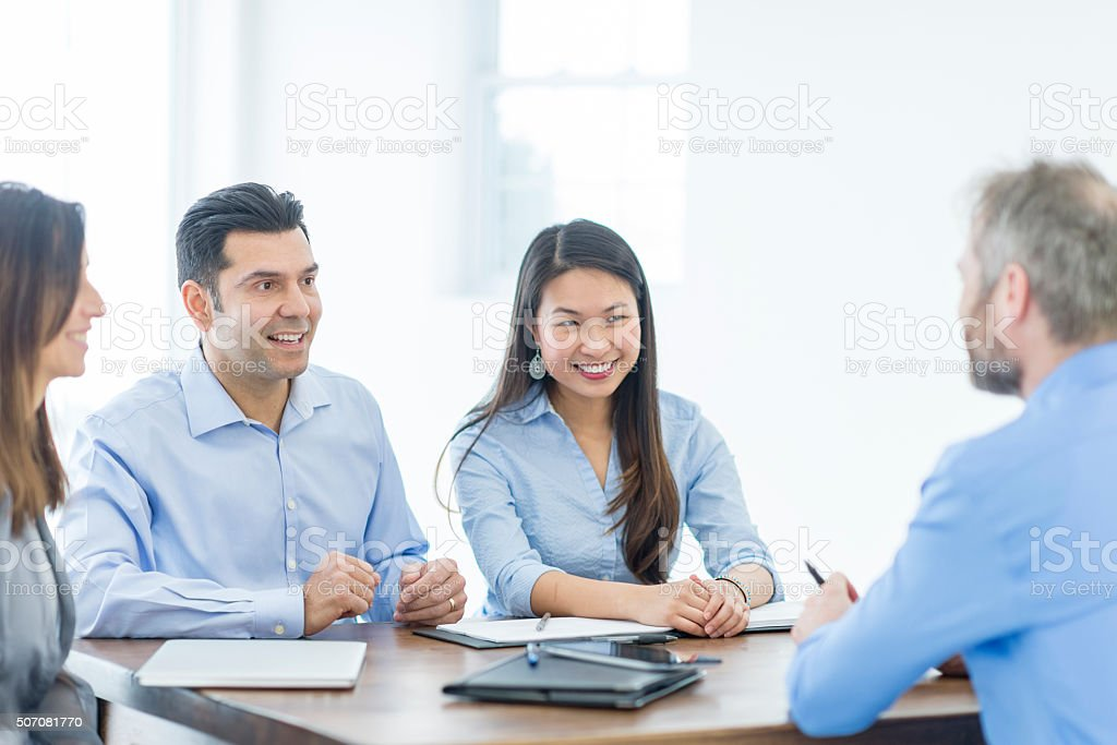 Having a Business Discussion stock photo