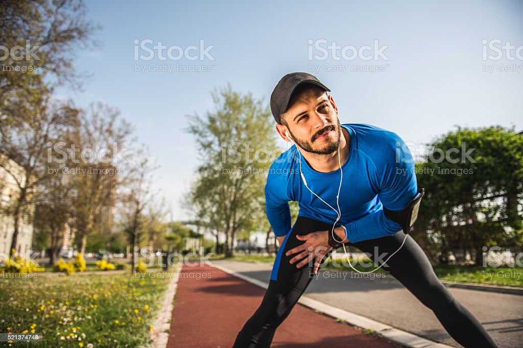 Having a good stretch stock photo