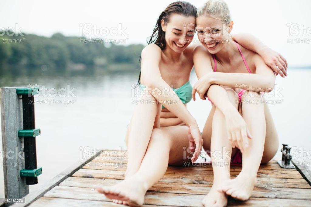Having a good time at the lake stock photo