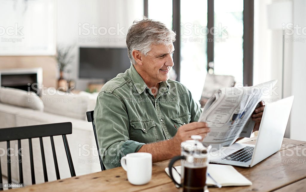 Having a great start to his morning stock photo