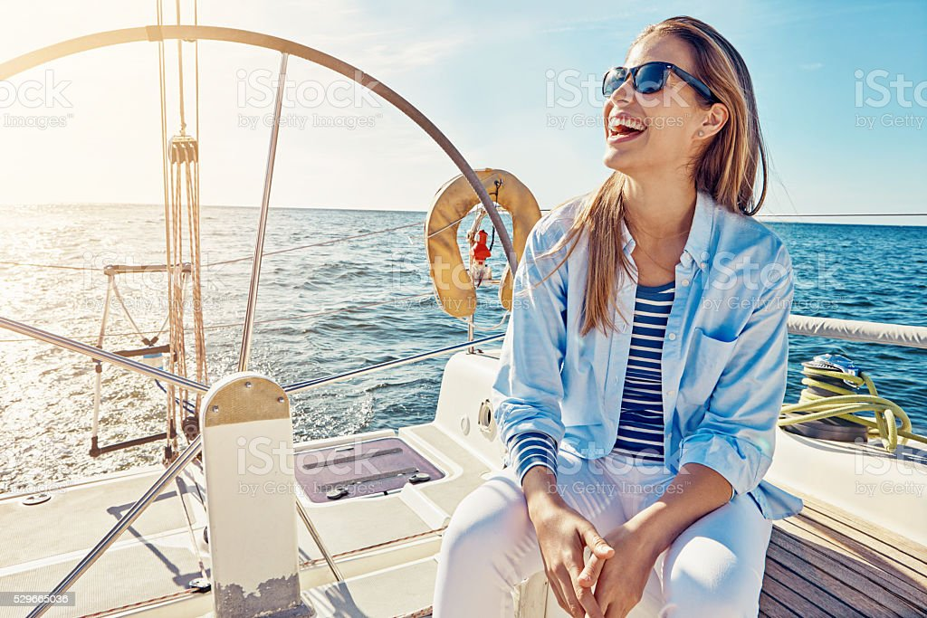 Having a great time on deck stock photo
