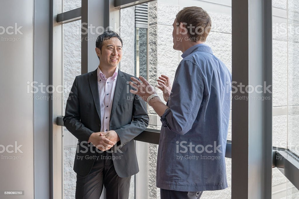 Having a long talk stock photo