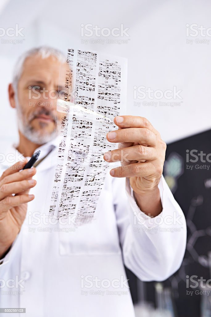 Having a look at your DNA profile stock photo