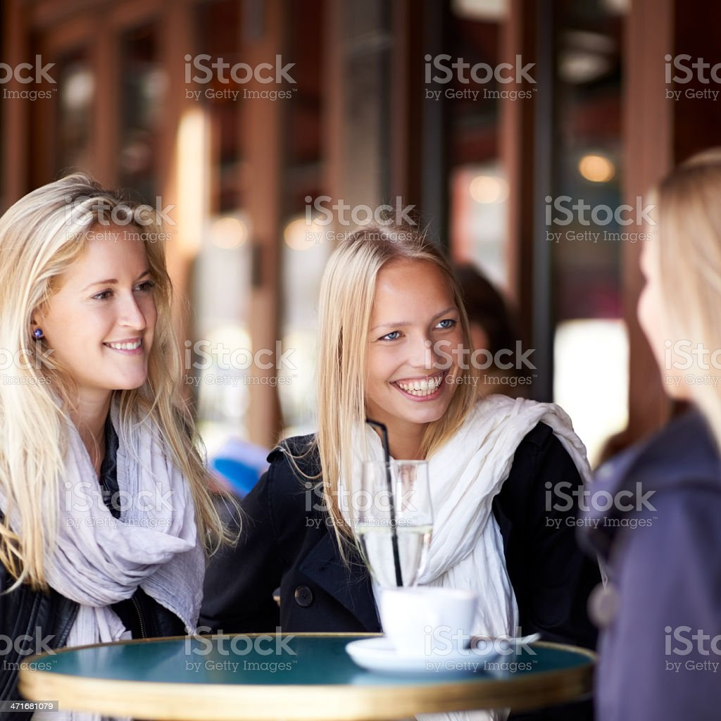 Having a much deserved catch up with my closest friends royalty-free stock photo